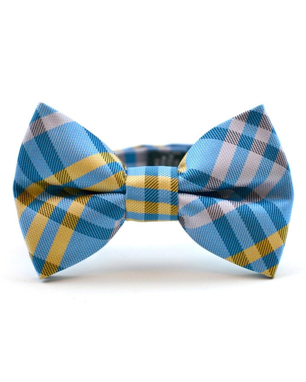 Yellow and Bright Blue Plaid Bow Tie (Boys and Men)