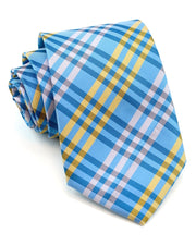Yellow and Bright Blue Plaid Standard Necktie