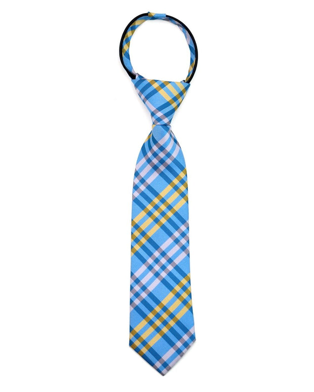 Yellow and Bright Blue Plaid Zipper Tie