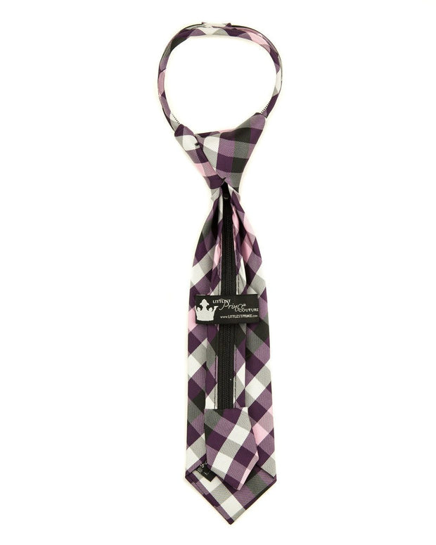 Boysenberry Check Zipper Tie (Boys and Men)