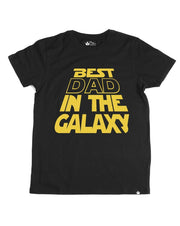 Best Dad In the Galaxy Black Crew Neck Dad Tee