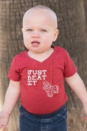 Just Beat It Red V-Neck Bodysuit