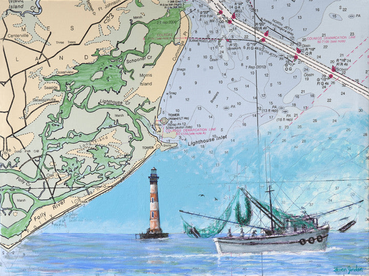 """Morris Island Lighthouse with Map"""