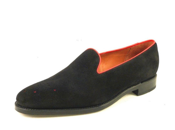 Laurelhurst - MTO - Black Suede / Red Piping - TMG Last - Single Leather Sole