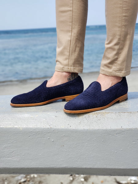 Laurelhurst ll - Braided Navy Suede/Natural Sole