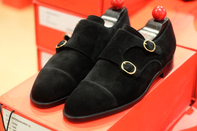 Kent - MTO - Black Suede - TMG Last - Single Leather Sole - Round Gold Buckles