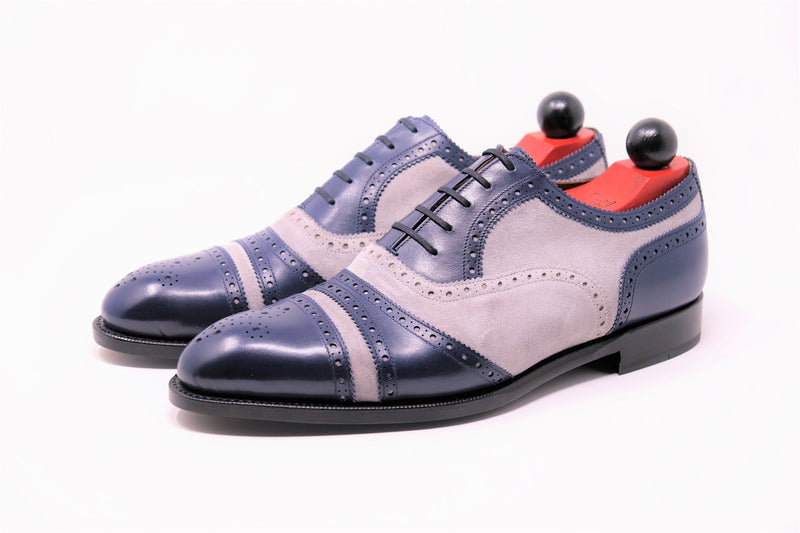 Phillips - MTO - Marine Blue Calf / Light Grey Suede - NGT Last - Single Leather Sole