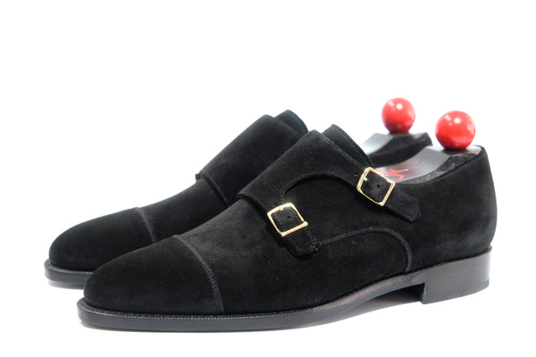 Kent - MTO - Black Suede - TMG Last - Single Leather Sole - Gold Buckles
