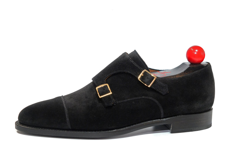 Kent - MTO - Black Suede - TMG Last - Single Leather Sole - Square Gold Buckles