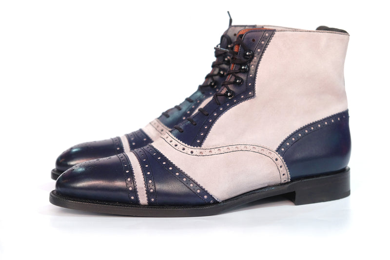 Whitman - MTO - Marine Blue Calf / Pearl Grey Suede - NGT Last - Single Leather Sole