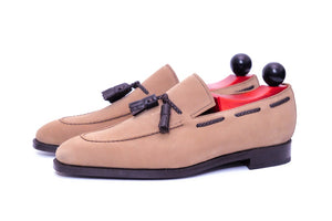 Eskapa PreSale - Oatmeal Suede / Dark Brown Museum Calf