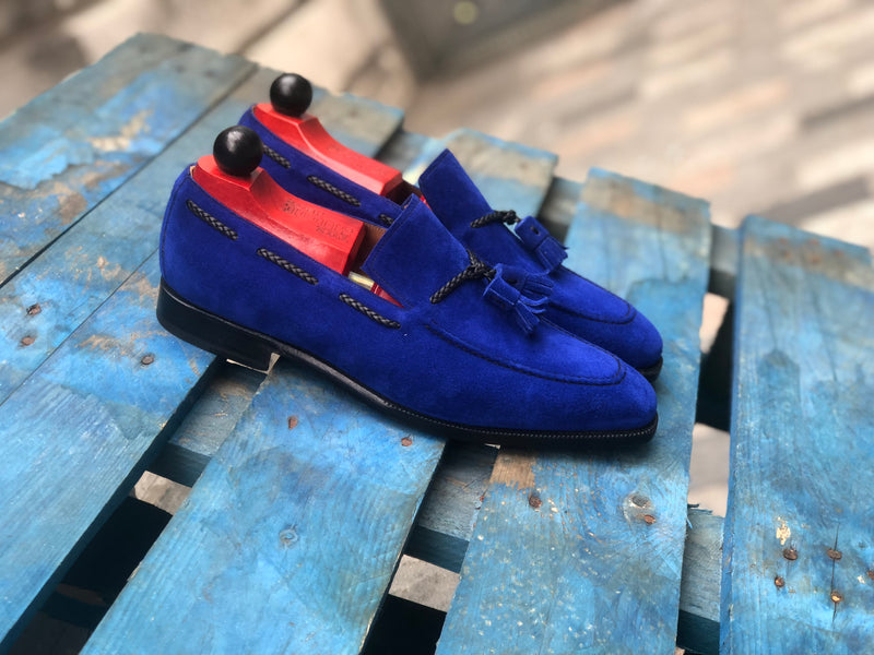Eskapa - MTO - Vivid Blue Suede - LPB Last - Single Leather Sole