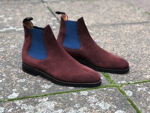 Alki - MTO - Burgundy Suede / Blue Gore - LPB Last - Double City Rubber Sole