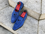 Eskapa - MTO - Soft Blue Suede - LPB Last - Single Leather Sole