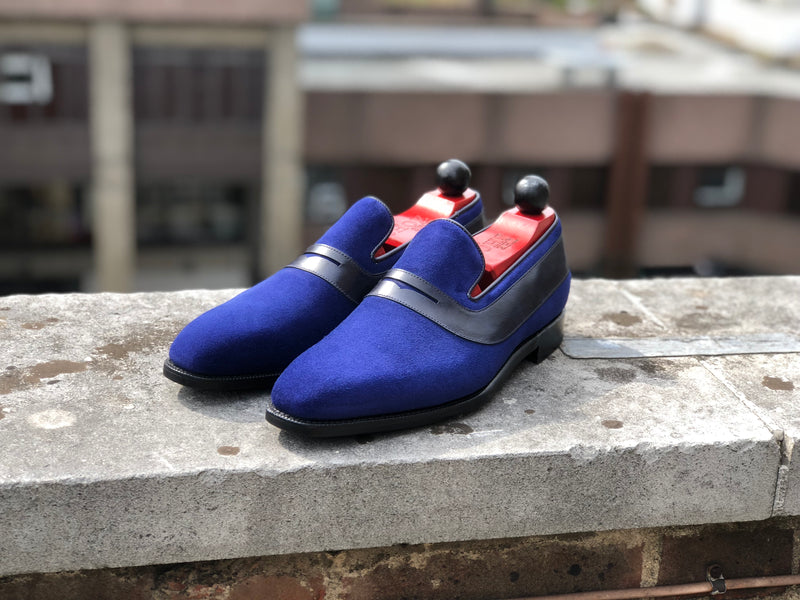 Marcos - MTO - Vivid Blue Suede / Black Calf - LPB Last - Single Leather Sole