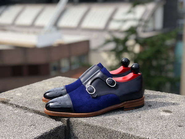 Kent - MTO - Navy Calf / Blue Suede - TMG Last - Natural Leather Sole
