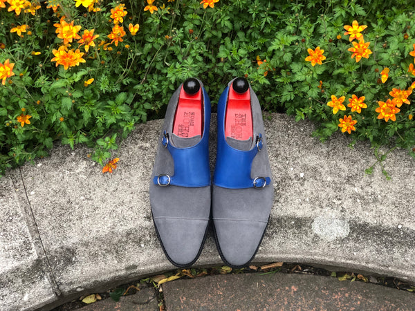 Kent - MTO - Grey Suede / Sky Blue Calf - TMG Last - Single Leather Sole