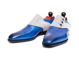 Aurora - MTO - Sky Blue Calf / Pyjama Cloth - LPB Last - Single Leather Sole