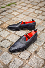 Piau - MTO - Navy Museum Calf / Black Soft Grain - MGF Last - Single Leather Sole