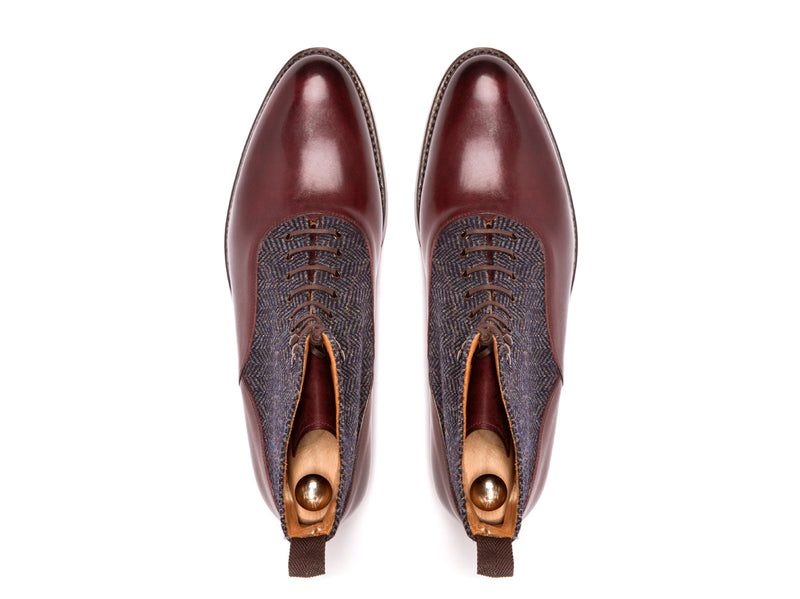 Wedgwood - MTO - Shaded Merlot Calf / Blue Tweed - TMG Last - Double Leather Sole