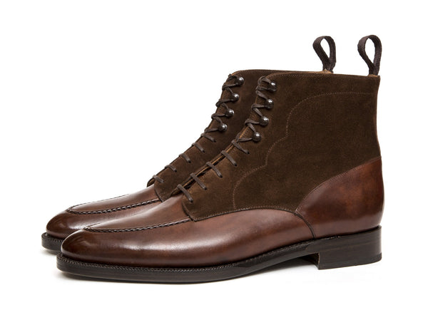 J.FitzPatrick Footwear - Bremerton PreSale - Walnut Museum Calf / Dark Brown Suede