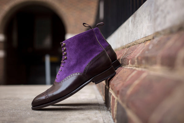 David - MTO - Plum Museum Calf / Purple Suede (Heart Medallion) - NGT Last - Single Leather Sole
