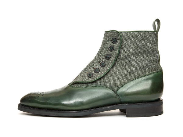 J.FitzPatrick Footwear - Westlake - Forest Green Calf / Military Canvas - NGT Last - City Rubber Sole