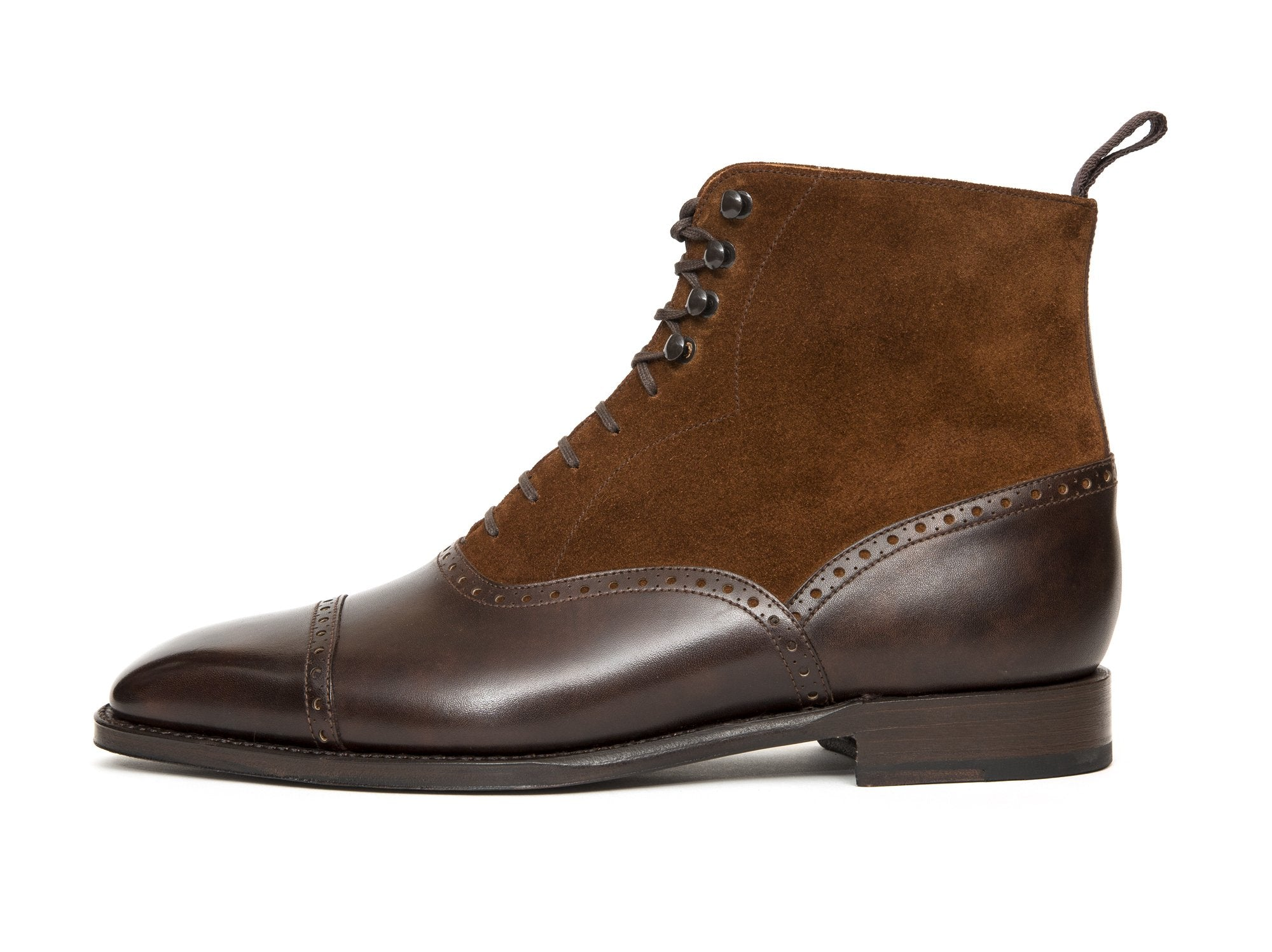 J.FitzPatrick Footwear - David - Dark Brown Museum Calf / Snuff Suede - LPB Last - Single Leather Sole