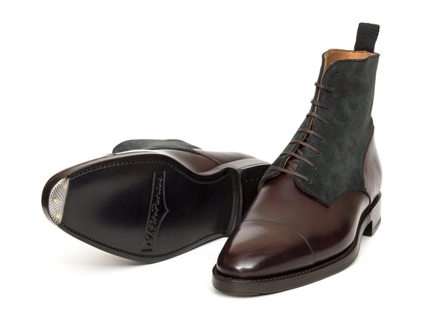 J.FitzPatrick Footwear - Delridge - Plum Museum Calf / Charcoal Suede - TMG Last - Double Leather Sole