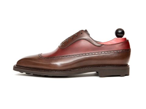 Sebastien - MTO - Shaded Brown Calf / Burgundy Calf - LPB Last - Rugged Rubber Sole