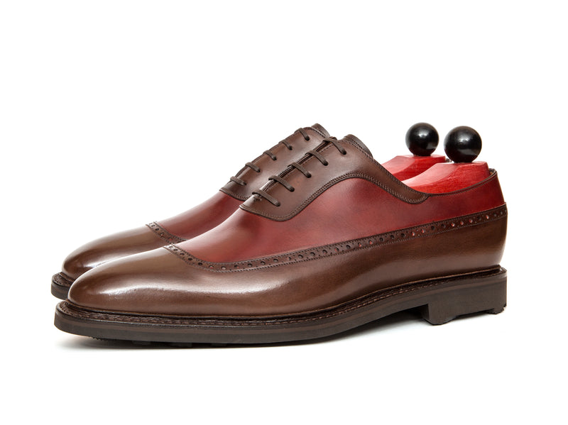 Tulloss - MTO - Shaded Brown Calf / Burgundy Calf - LPB Last - Rugged Rubber Sole