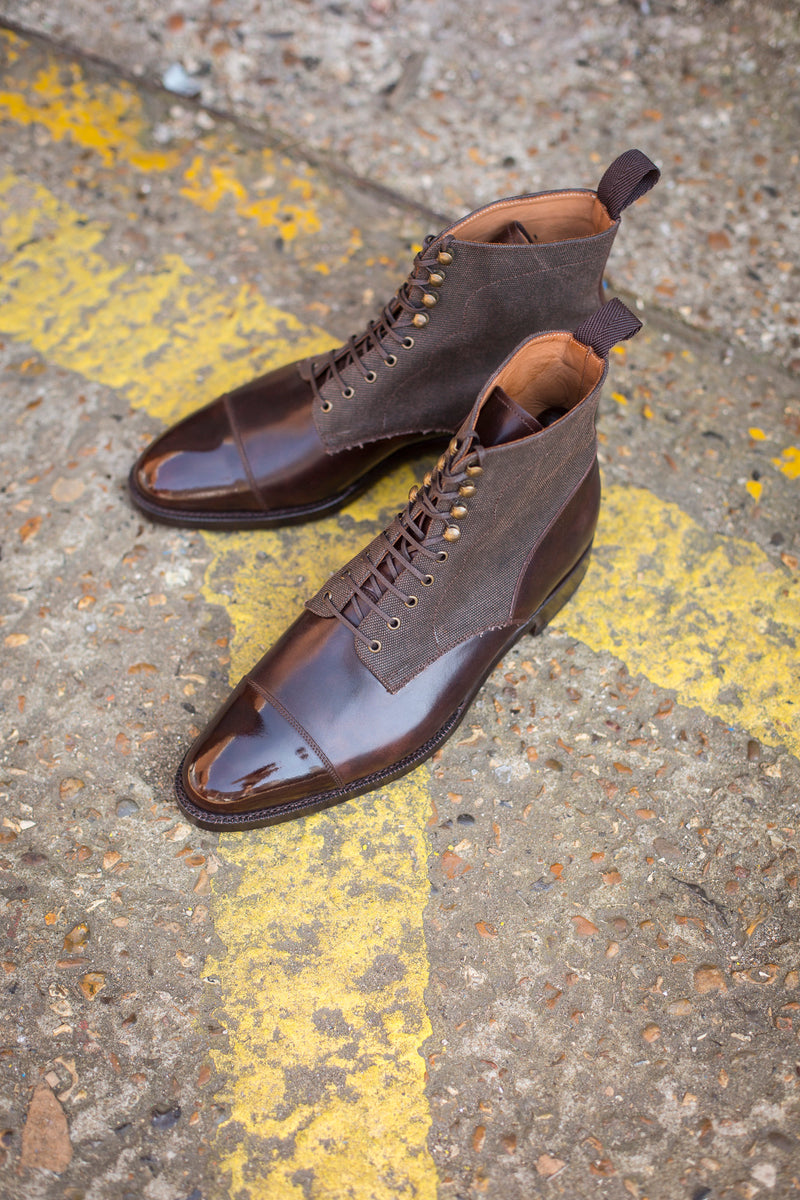 Delridge - MTO - Dark Brown Museum Calf / Military Canvas - TMG Last - Double Leather Sole