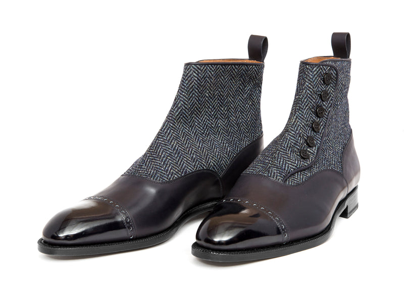 Carkeek - MTO - Midnight Calf / Blue Tweed - NGT Last - Single Leather Sole
