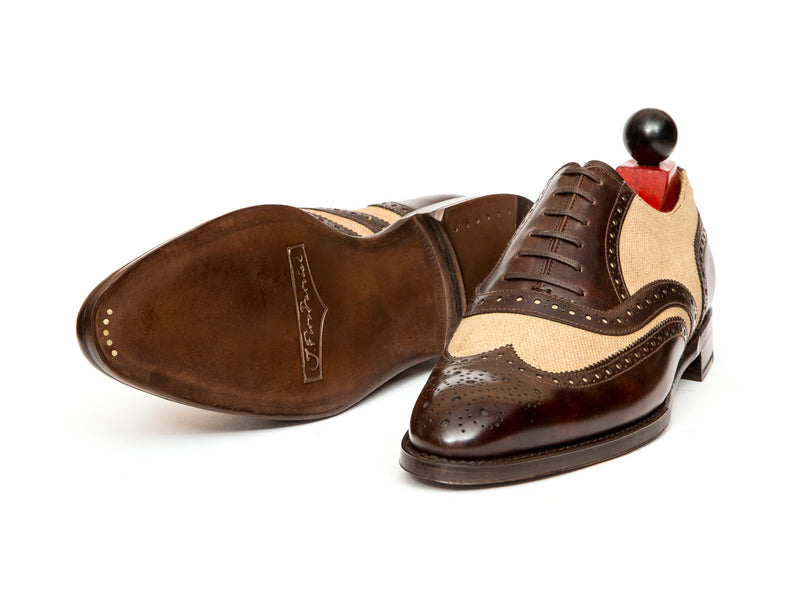 Kitsap - MTO - Dark Brown Museum Calf / Biscuit Canvas - NGT Last - Single Leather Sole
