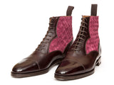 Meadowbrook - MTO - Plum Museum Calf / Raspberry Braided Suede - TMG Last - Single Leather Sole