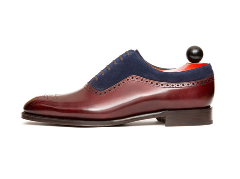 Roosevelt - MTO - Burgundy Calf / Dark Blue Suede - NGT Last - Single Leather Sole