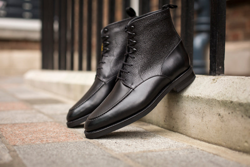 Bremerton - MTO - Black Calf / Black Scotch Grain - TMG Last - Double City Rubber Sole