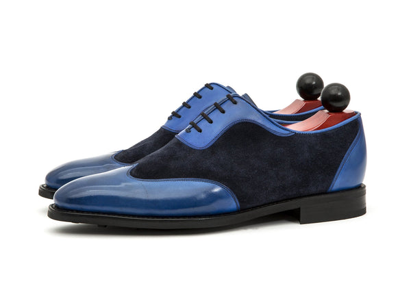 J.FitzPatrick Footwear - Rainier - Sky Blue Calf / Navy Suede - Country Rubber Sole - LPB Last