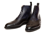 David - MTO - Black Grain / Navy Museum Calf (Papillon Medallion) - NGT Last - City Rubber Sole