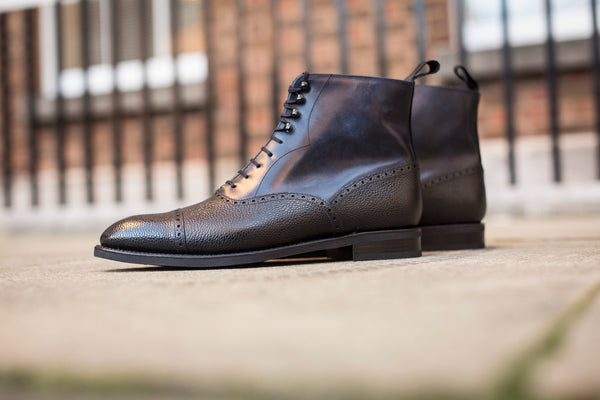 David - MTO - Black Grain / Navy Museum Calf