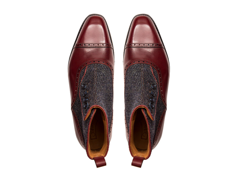 Puyallup - MTO - Burgundy Calf / Blue Tweed - LPB Last - City Rubber Sole