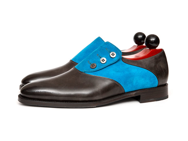 Aurora - MTO - Grey Museum Calf / Turquoise Suede - LPB Last - Single Leather Sole