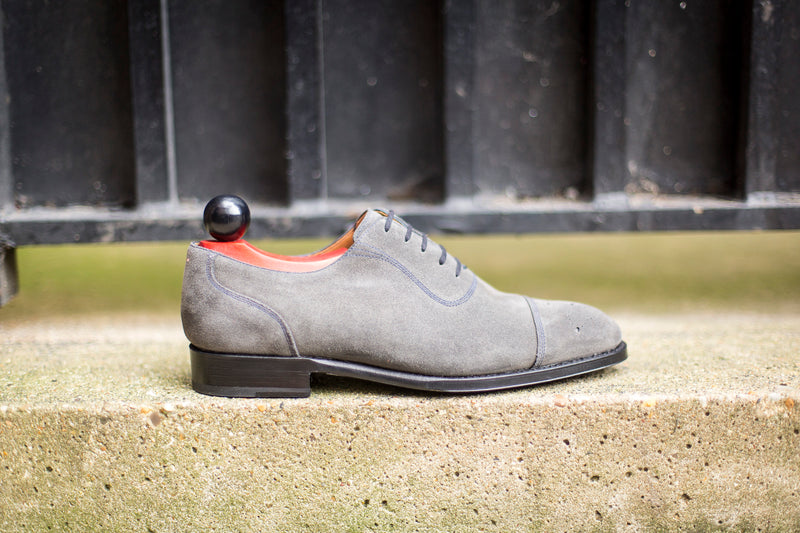 Auburn - MTO - Mid Grey Suede / Navy Stitching - NGT Last - Single Leather Sole