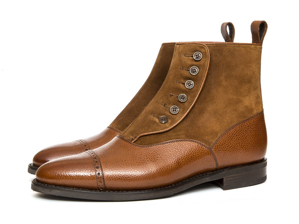 J.FitzPatrick Footwear - Carkeek - Tan Soft Grain / Snuff Suede- TMG Last- City Rubber Sole