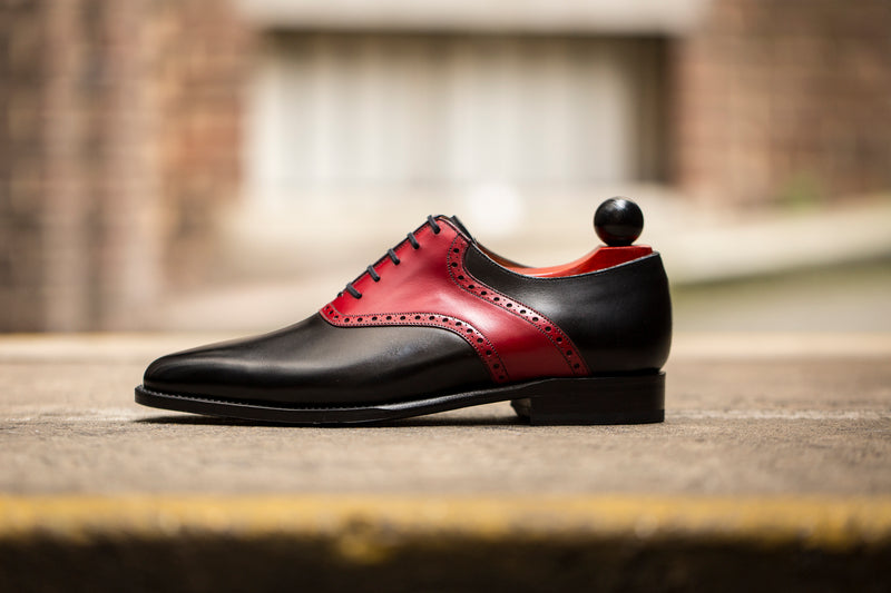 Stefano Redux - MTO - Black Calf / Red Calf Saddle - JKF Last - Single Leather Sole