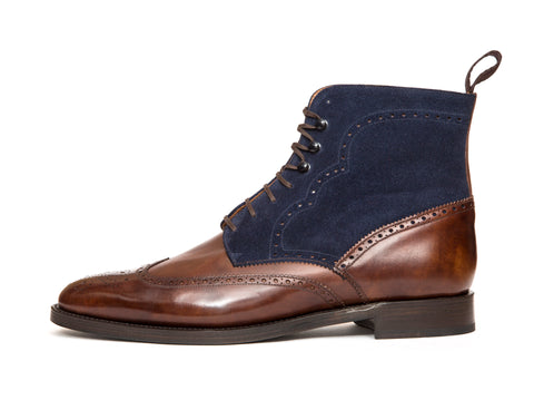 Holman - MTO - Walnut Museum Calf / Dark Blue Suede - TMG Last - Double Leather Sole