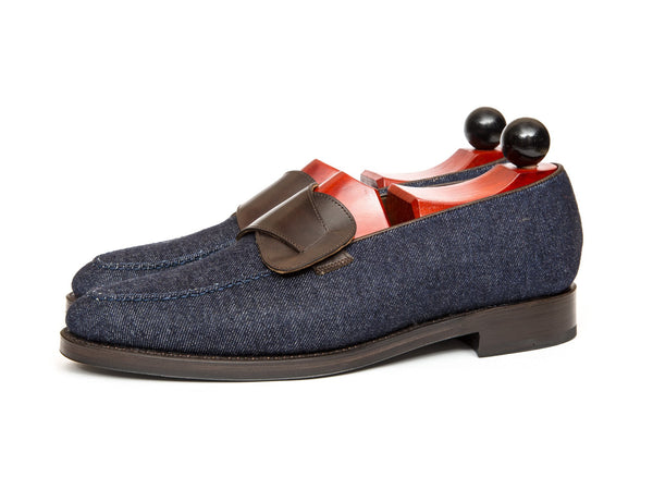 J.FitzPatrick Footwear - Hawthorne - Blue Denim / Dark Brown Museum Calf - Double Leather Sole - TMG Last