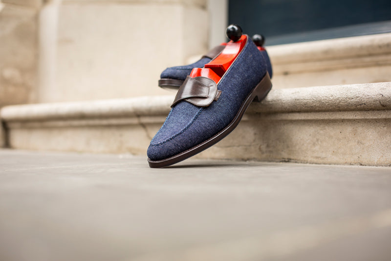 Hawthorne - MTO - Blue Denim / Dark Brown Museum Calf - TMG Last - Single Leather Sole