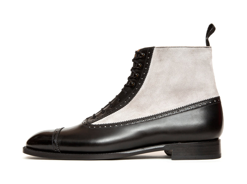 Tyler - MTO - Black Calf / Pearl Grey Suede - NGT Last - Single Leather Sole