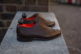 Rainier - MTO - Braided Dark Brown Museum Calf - SEA Last - Single Leather Sole